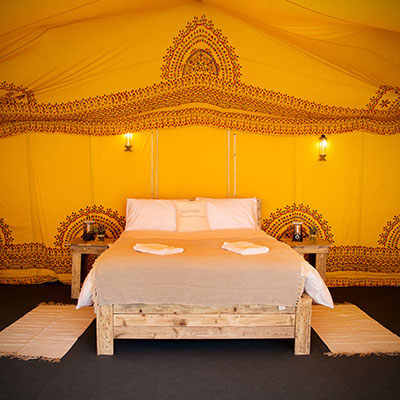 An Indian themed Frame Tent at The Retreat, Badminton Glamping accommodation