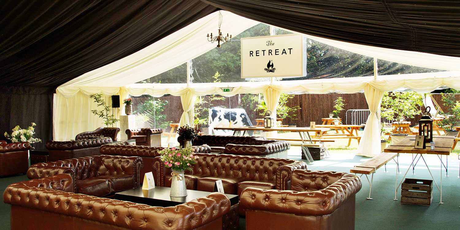 The chill out bar area at The Retreat with Chesterfield sofas