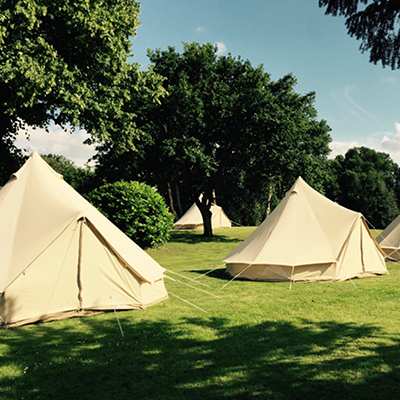 Bell Tents in the glamping field at The Retreat, Pilton - luxury glamping accommodation for Badminton Horse Trials 2019