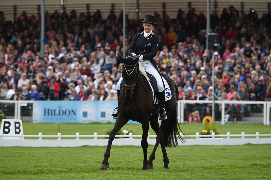 Jonelle Price in day 2 of the dressage riding Classic Moet, 2018 was a winning year for this formidable duo from New Zealand