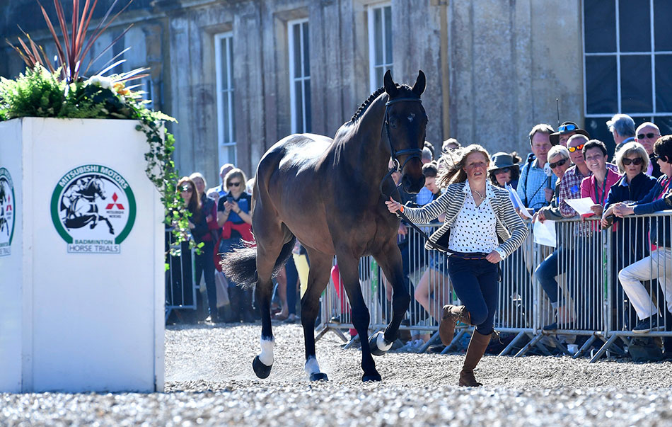 Ros Canter looking good with Allstar B for the horse inspection at Badminton