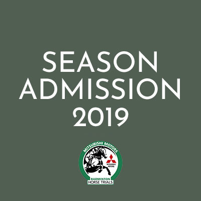 Season Admission ticket image with logo of the Badminton Horse Trials and Mitsubishi logo icon.