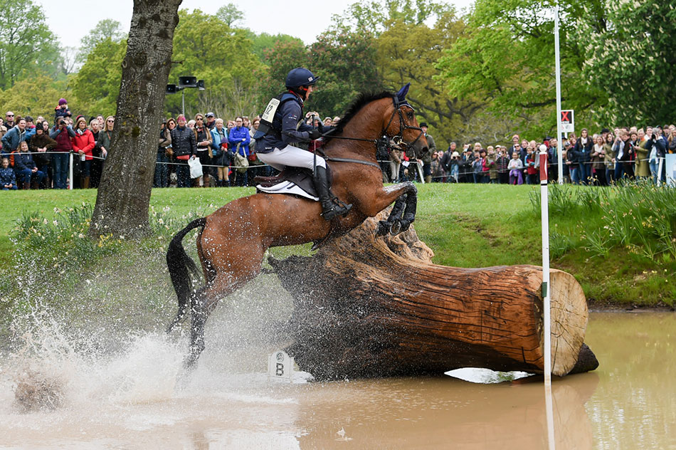 Toledo de Kerser making a splash in Hildon Pond at Badminton Horse Trials