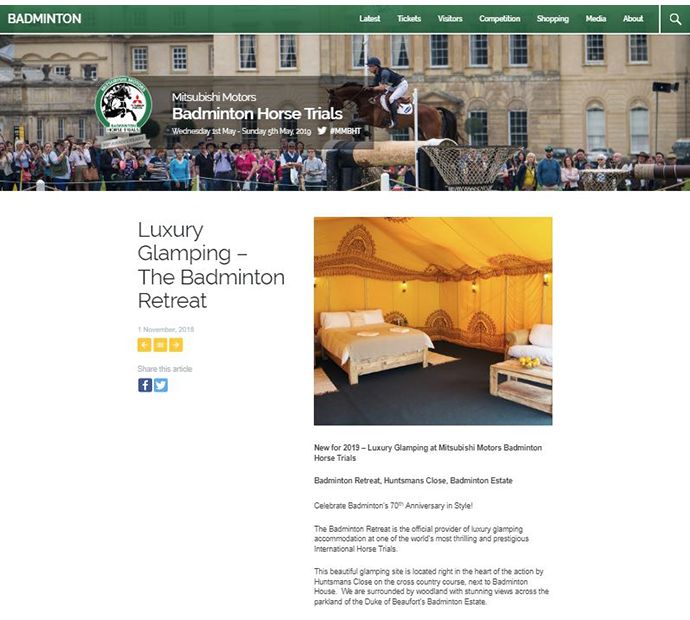 A screen shot of Badminton Horse Trials official website with a feature on The Badminton Retreat glamping site