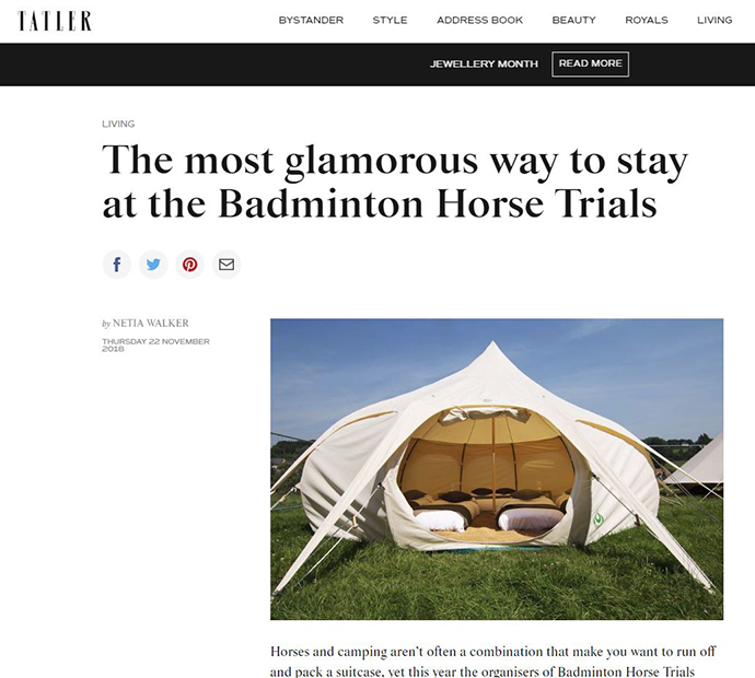 A screen shot of Tatler's website of a feature on Badminton Retreat Glamping