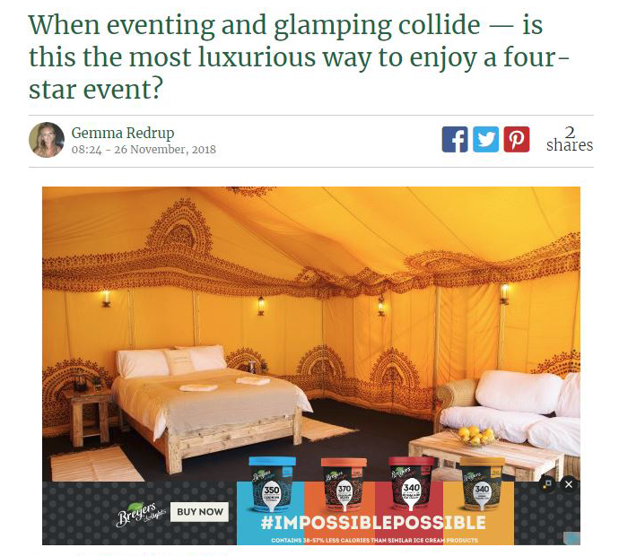 A screen shot of an article on Horse & Hound's website of a feature on Badminton Retreat Glamping
