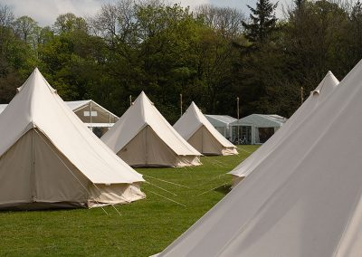 The glamping field at The Badminton Retreat