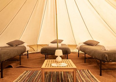 Interior of a Bell tent at The Badminton Retreat