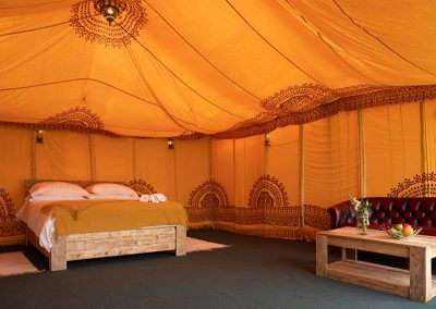 Luxury Indian Safari tent interior at The Badminton Retreat - glamping at Badminton Horse Trials