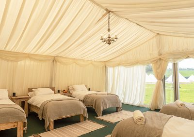 Luxury Ivory Safari tent interior at The Badminton Retreat - glamping at Badminton Horse Trials