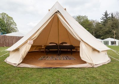 The Bell tents at Badminton Retreat have raised beds and matresses