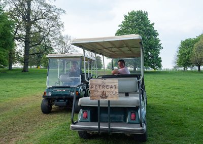 Buggies await to take you to the shopping village at Badminton Horse Trials