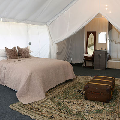 En-suite safari tent from The Retreat Glaming site at Badminton Horse trials