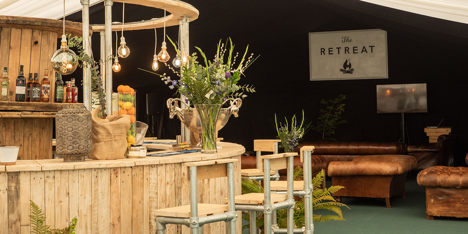 The bar at The Retreat - Luxury Glamping accommodation for Badminton Horse Trails