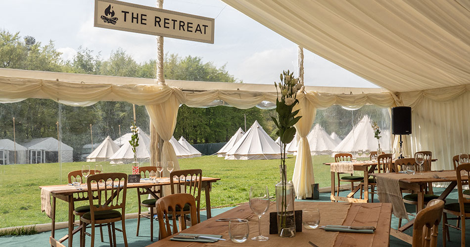 The Badminton Retreat restaurant with a view across the glamping field