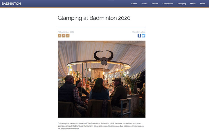 Glamping at Badminton 2020 – Press Coverage