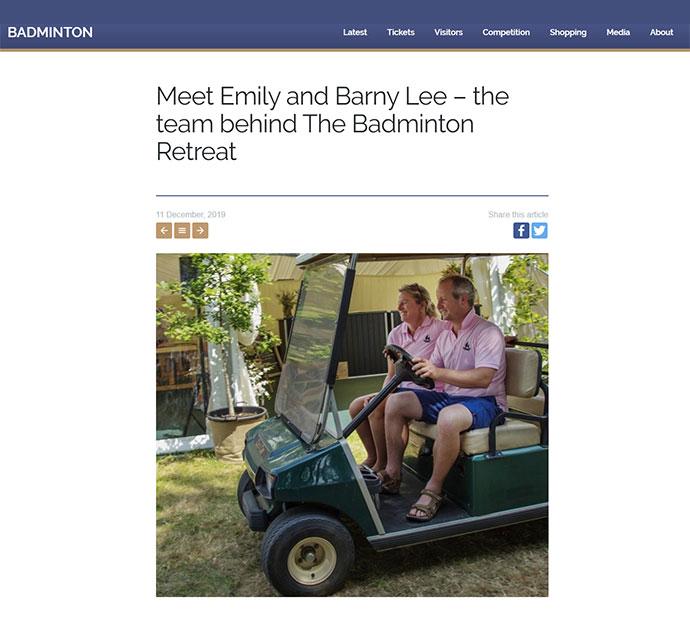 Badminton Retreat Press Coverage - Badminton Horse Website Dec 19
